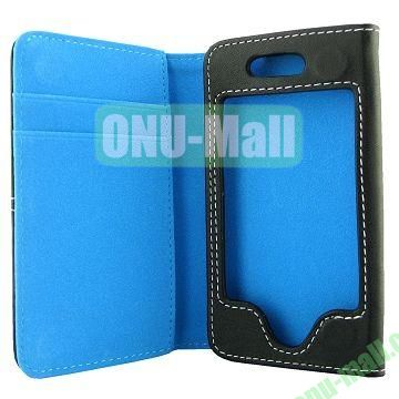 Skidproof Double Color Wallet Full Body Leather Case For iPhone 5  5S (Blue+Black)