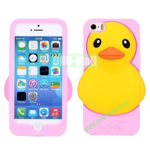 Cartoon 3D Duck Silicone Case for iPhone 5S  5 (Pink)