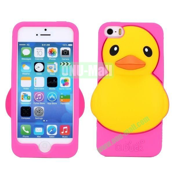 Cartoon 3D Duck Silicone Case for iPhone 5S  5 (Rose)