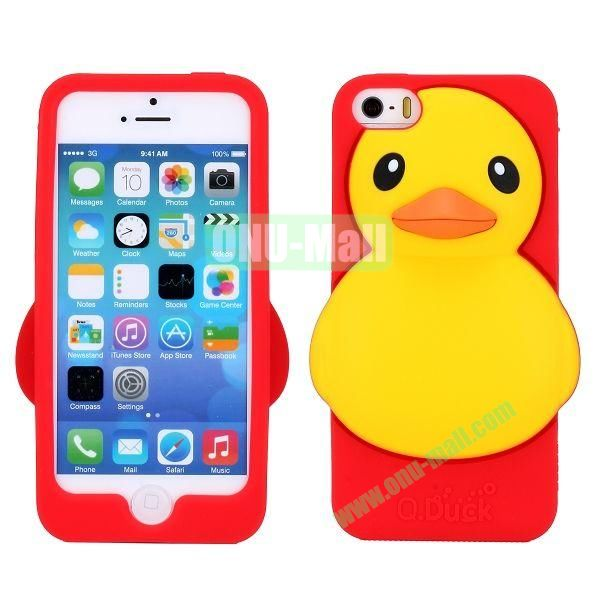 Cartoon 3D Duck Silicone Case for iPhone 5S  5 (Red)