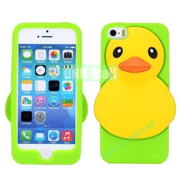 Cartoon 3D Duck Silicone Case for iPhone 5S  5 (Green)
