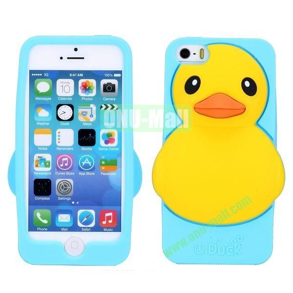 Cartoon 3D Duck Silicone Case for iPhone 5S  5 (Light Blue)