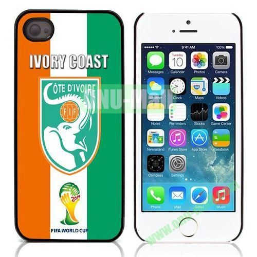 2014 FIFA World Cup Pattern Design Aluminium Coated Hard Case for iPhone 5S  5 (Ivory Coast)