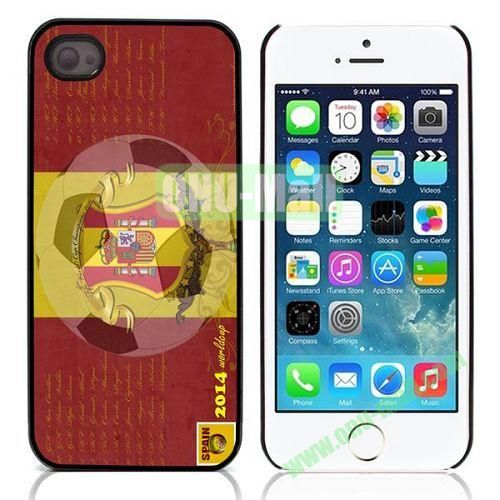 2014 FIFA World Cup Pattern Design Aluminium Coated Hard Case for iPhone 5S  5 (Spain)