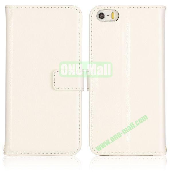 Crazy Horse Texture with Card Slots Flip PU Leather Case for iPhone 5 5S (White)