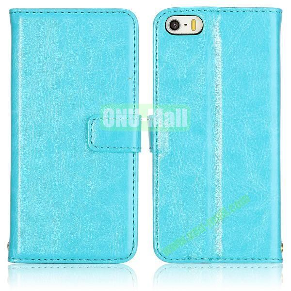Crazy Horse Texture with Card Slots Flip PU Leather Case for iPhone 5 5S (Blue)