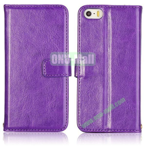 Crazy Horse Texture with Card Slots Flip PU Leather Case for iPhone 5 5S (Purple)