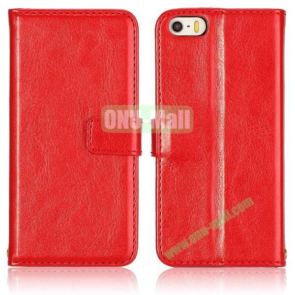 Crazy Horse Texture with Card Slots Flip PU Leather Case for iPhone 5 5S (Red)