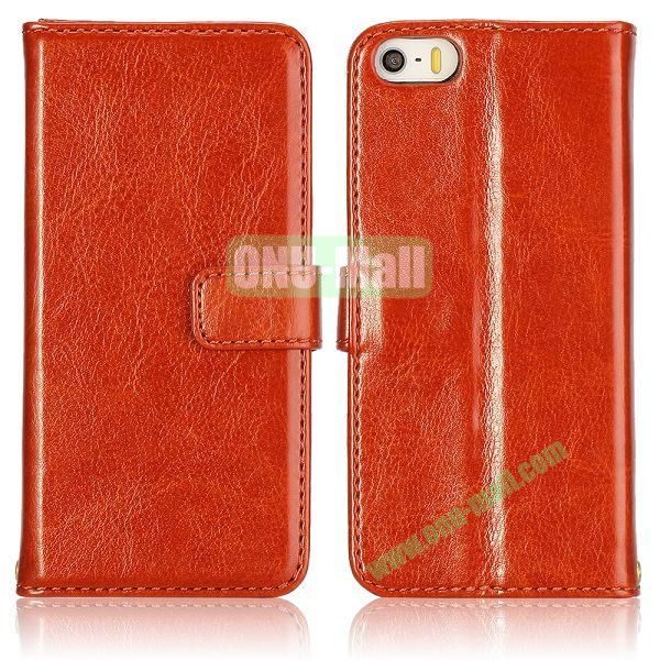 Crazy Horse Texture with Card Slots Flip PU Leather Case for iPhone 5 5S (Orange)