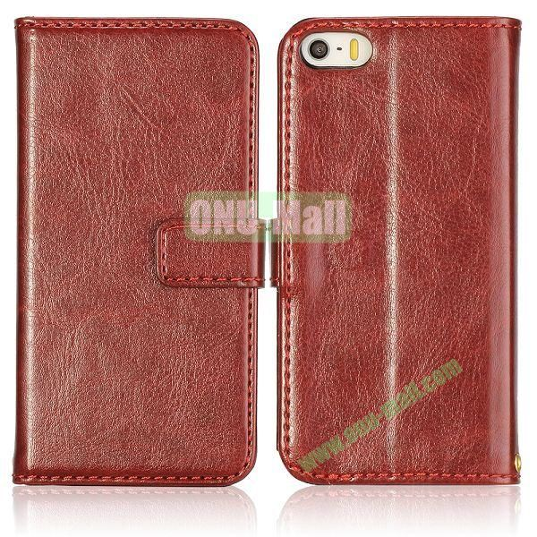Crazy Horse Texture with Card Slots Flip PU Leather Case for iPhone 5 5S (Brown)