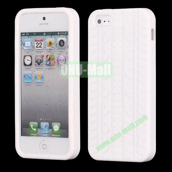 Solid Color Design Tire Pattern Silicone Case for iPhone 5 5S (White)