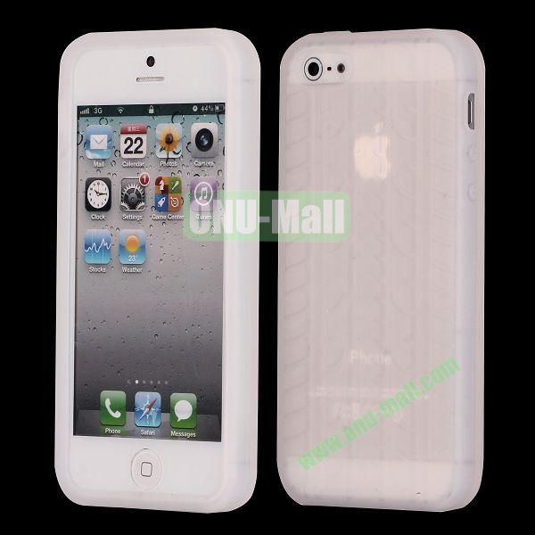 Solid Color Design Tire Pattern Silicone Case for iPhone 5 5S (Transparent)