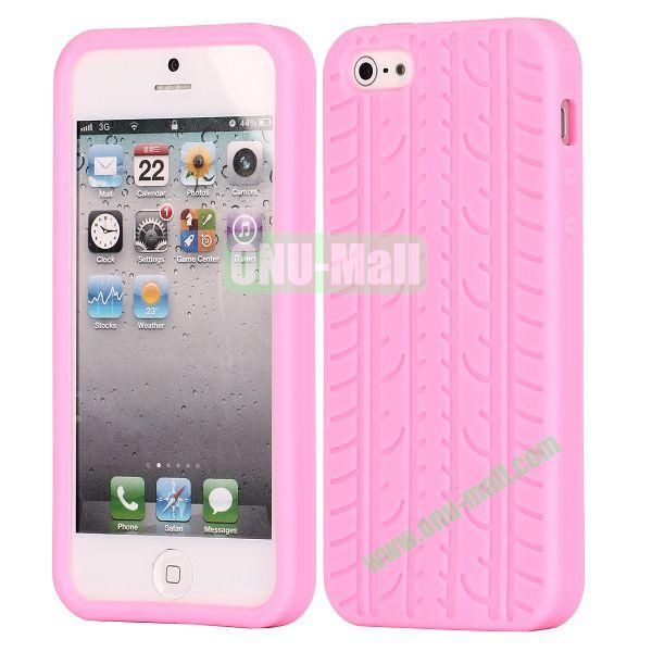 Solid Color Design Tire Pattern Silicone Case for iPhone 5 5S (Pink)
