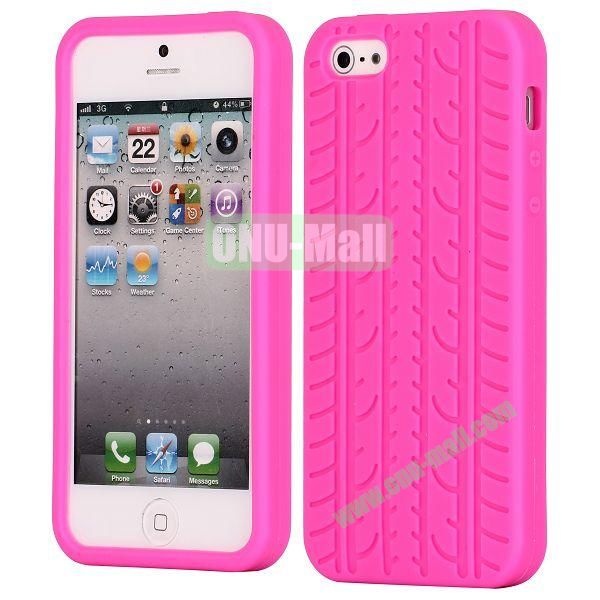Solid Color Design Tire Pattern Silicone Case for iPhone 5 5S (Rose)