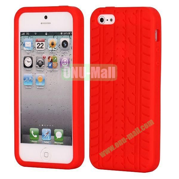 Solid Color Design Tire Pattern Silicone Case for iPhone 5 5S (Red)