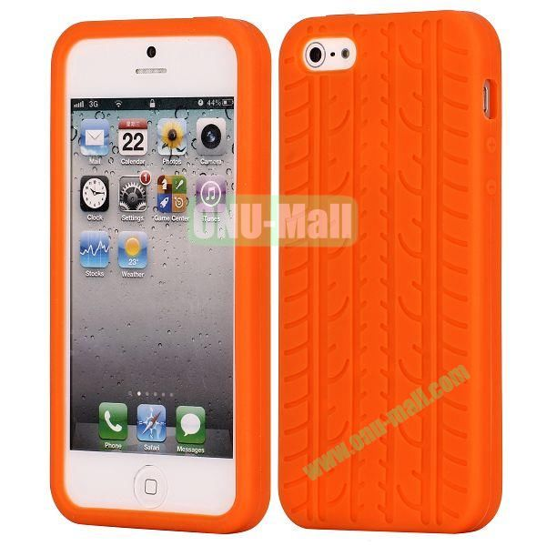 Solid Color Design Tire Pattern Silicone Case for iPhone 5 5S (Orange)