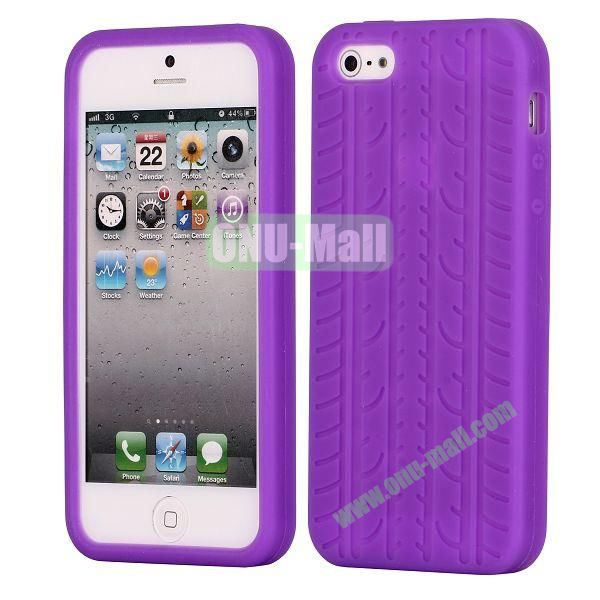 Solid Color Design Tire Pattern Silicone Case for iPhone 5 5S (Purple)