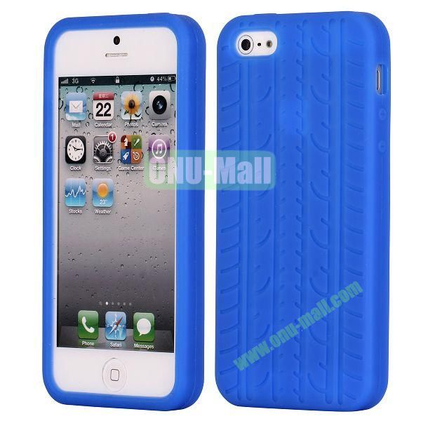 Solid Color Design Tire Pattern Silicone Case for iPhone 5 5S (Dark Blue)