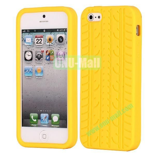 Solid Color Design Tire Pattern Silicone Case for iPhone 5 5S (Yellow)
