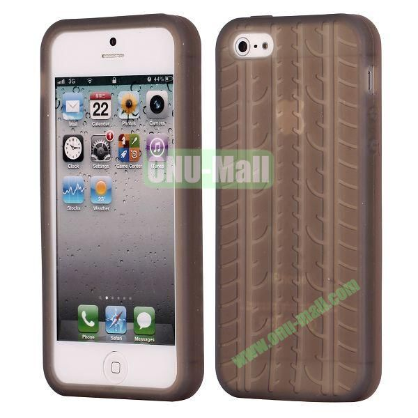 Solid Color Design Tire Pattern Silicone Case for iPhone 5 5S (Grey)