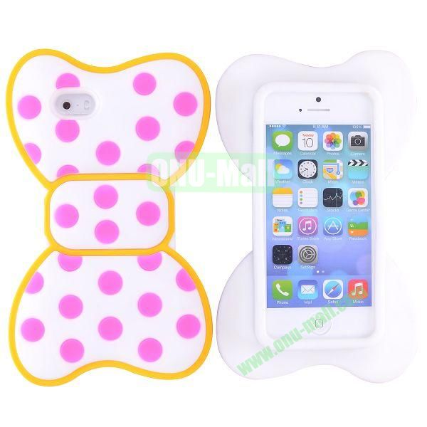 Cute Bow Design Silicone Case for iPhone 5 5S (Yellow+Rose+White)