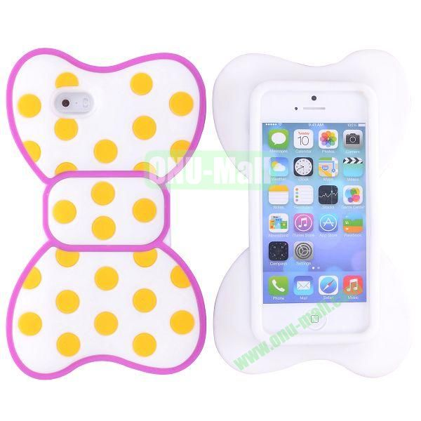 Cute Bow Design Silicone Case for iPhone 5 5S (Rose+Yellow+White)