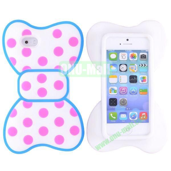 Cute Bow Design Silicone Case for iPhone 5 5S (Blue+Rose+White)