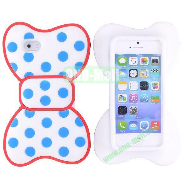 Cute Bow Design Silicone Case for iPhone 5 5S (Red+Blue+White)