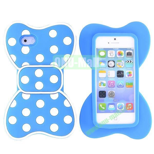 Cute Bow Design Silicone Case for iPhone 5 5S (Blue+White)
