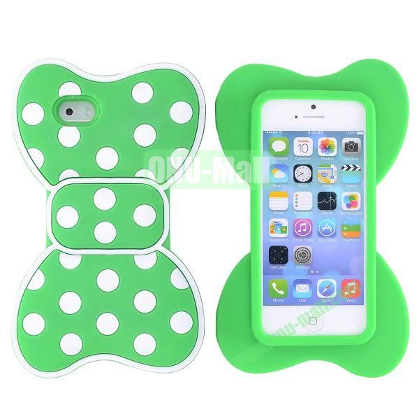 Cute Bow Design Silicone Case for iPhone 5 5S (Green+White)