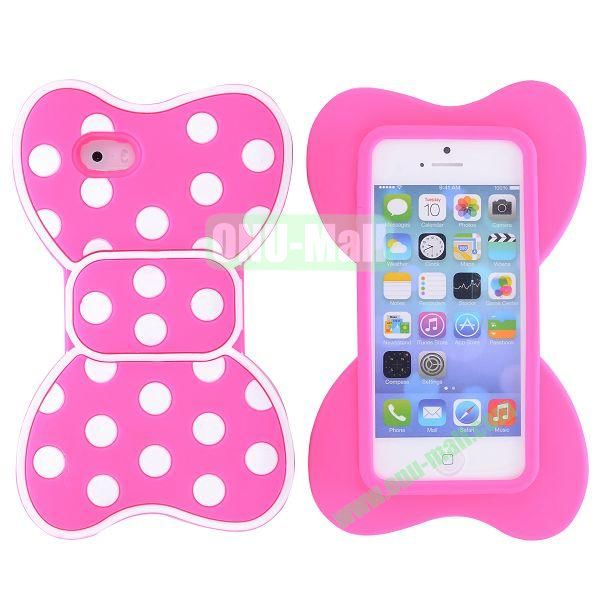 Cute Bow Design Silicone Case for iPhone 5 5S (Rose+White)