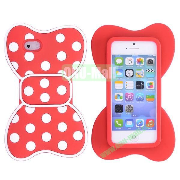 Cute Bow Design Silicone Case for iPhone 5 5S (Red+White)