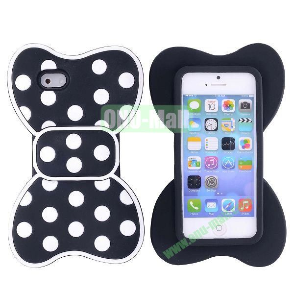 Cute Bow Design Silicone Case for iPhone 5 5S (Black+White)