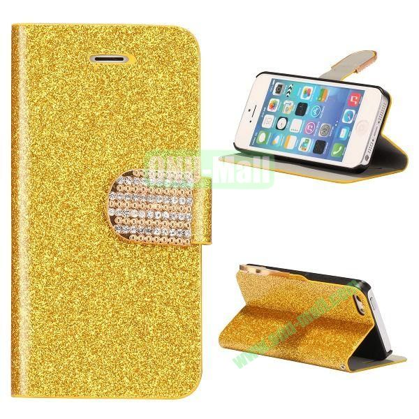 Glitter Powder Studded Crystal Magnetic Flip Stand Leather Case for iPhone 5S  5 (Yellow)