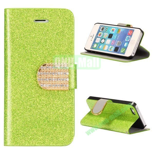 Glitter Powder Studded Crystal Magnetic Flip Stand Leather Case for iPhone 5S  5 (Green)