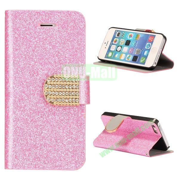 Glitter Powder Studded Crystal Magnetic Flip Stand Leather Case for iPhone 5S  5 (Pink)