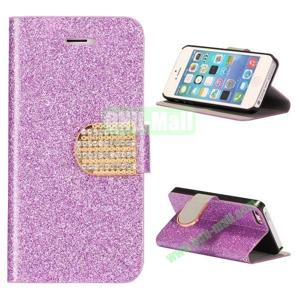 Glitter Powder Studded Crystal Magnetic Flip Stand Leather Case for iPhone 5S  5 (Purple)