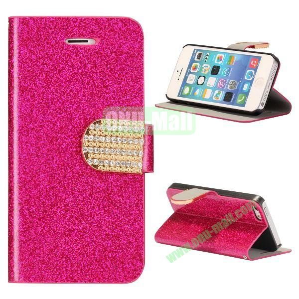 Glitter Powder Studded Crystal Magnetic Flip Stand Leather Case for iPhone 5S  5 (Rose)
