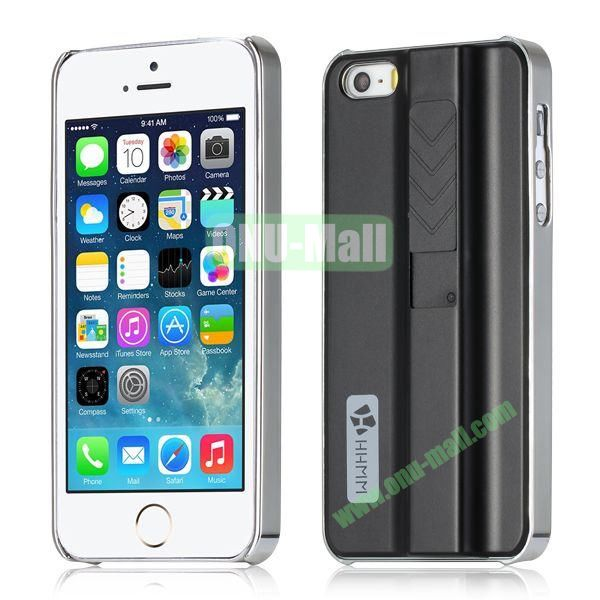 HHMM Cigarette Lighter Plating Hard Case for iPhone 5 5S (Black)