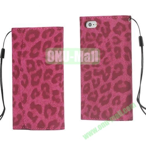 Fashion Leopard Pattern Flip Leather Case with Card Slots for iPhone 5S  5 (Rose)