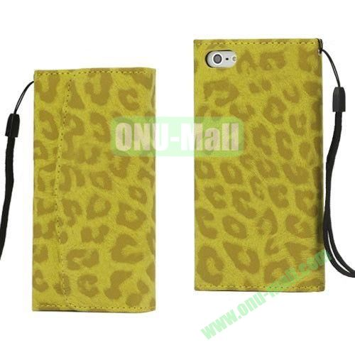 Fashion Leopard Pattern Flip Leather Case with Card Slots for iPhone 5S  5 (Yellow)