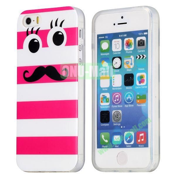 Extraordinary Design Soft TPU Case for iPhone 5 5S (White and Rose Stripes)