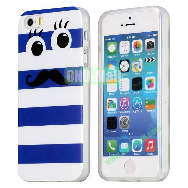 Extraordinary Design Soft TPU Case for iPhone 5 5S (White and Blue Stripes)