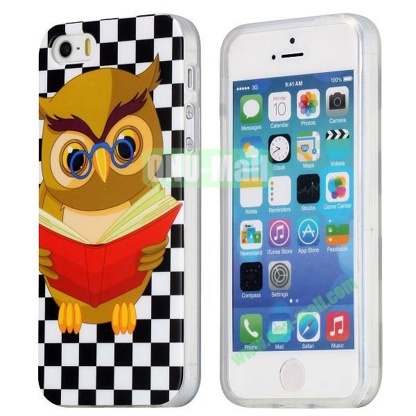 Extraordinary Design Soft TPU Case for iPhone 5 5S (Reading Owl)