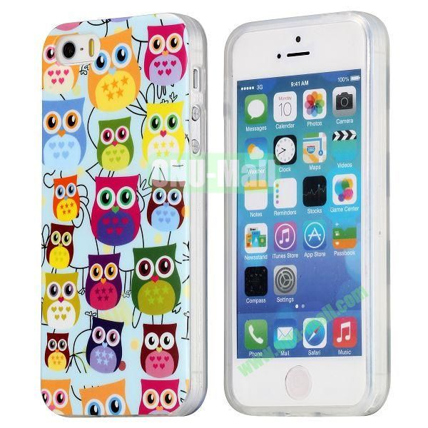 Extraordinary Design Soft TPU Case for iPhone 5 5S (Colorful Owl)
