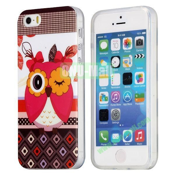 Extraordinary Design Soft TPU Case for iPhone 5 5S (Pretty Miss Owl)