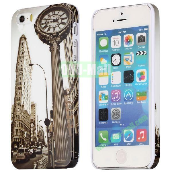 Special Images Personality Design Hard Plastic Case for iPhone 5 5S (The Fifth Avenue Building Clock)