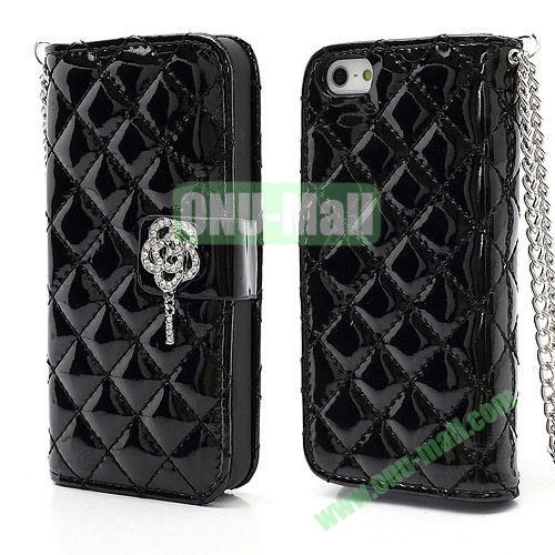 Rhombus Pattern Diamond Flower Magnetic Flip Wallet Leather Case With Chain for iPhone 5S  5 (Black)