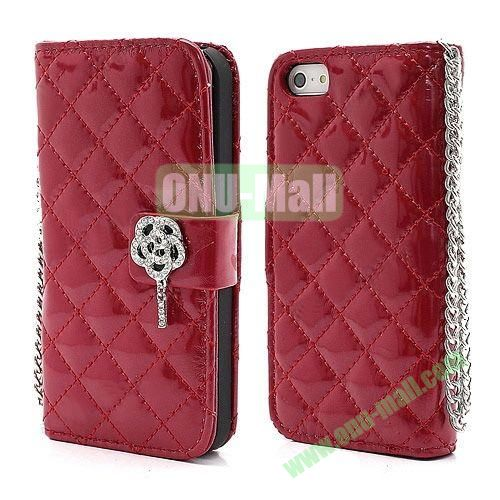 Rhombus Pattern Diamond Flower Magnetic Flip Wallet Leather Case With Chain for iPhone 5S  5 (Red)