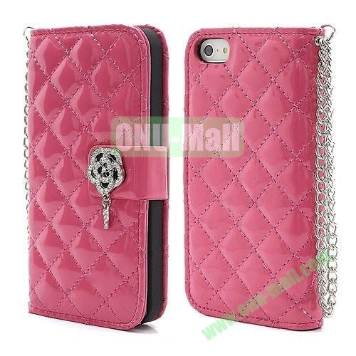 Rhombus Pattern Diamond Flower Magnetic Flip Wallet Leather Case With Chain for iPhone 5S  5 (Rose)